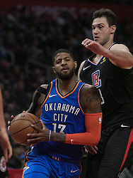 March 8, 2019 - Los Angeles, California, United States of America - Danilo Gallinari #8 of the Los Angeles Clippers defends against Paul George #13 of the Oklahoma Thunder during their NBA game on Friday March 8, 2019 at the Staples Center in Los Angeles, California. Clippers defeat Thunder, 118-110.  JAVIER ROJAS/PI (Credit Image: © Prensa Internacional via ZUMA Wire)
