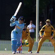 Anjum Chopra batting during the ICC Women's World Cup Cricket play off for third place between Australia and India at Bankstown Oval, Sydney, Australia on March 21, 2009. India beat Australia by three wickets. Photo Tim Clayton