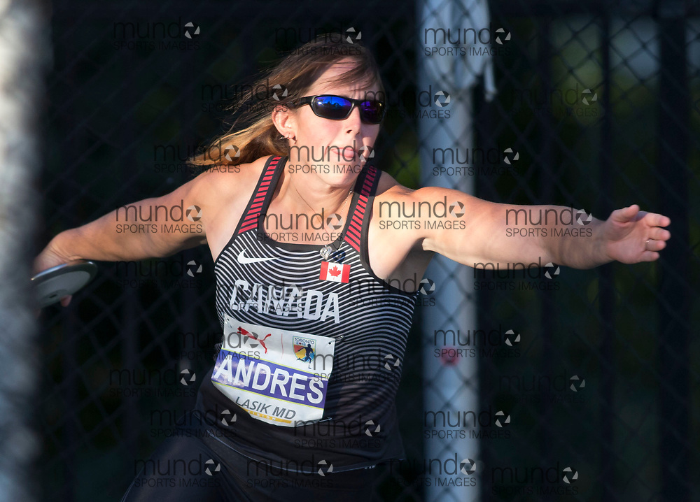 Toronto, ON -- 10 August 2018: Rachel Andres (Canada), fourth discus (55.65m) at the 2018 North America, Central America, and Caribbean Athletics Association (NACAC) Track and Field Championships held at Varsity Stadium, Toronto, Canada. (Photo by Sean Burges / Mundo Sport Images).