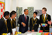 Barack Obama meets pupils at the Globe Academy school on May 24th in London, United Kingdom. The US president and British Prime Minister visited the school on Obamas first day in the country on his state visit.