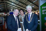 NO FEE PICTURES<br /> 23/1/16 Minister for Tourism Michael Ring and Maureen Ledwith, organiser of the Holiday World Show at the stand at the Holiday World Show at the RDS in Dublin. Picture: Arthur Carron
