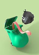 Fat wheelie bin with long tung coming from inside to scoop up black plastic bin bag.