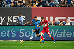 September 26, 2018 - Bronx, New York, US - New York City FC defender RONALD MATARRITA (22) fights for the ball against Chicago Fire midfielder BRANDT BRONICO (13) during a regular season match at Yankee Stadium in Bronx, New York.  New York City FC defeats Chicago Fire 2 to 0 (Credit Image: © Mark Smith/ZUMA Wire)