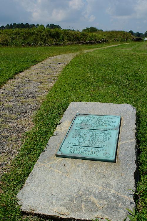 Memorial plaque to Fallen French soldiers and sailors, Yorktown National Battlefield, Yorktown, Virginia.