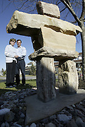 Richard and Claire Leger stand in the front yard of their Stittsville home on Thursday, April 13, 2006., where they have erected an inukshuk in memory of their son Marc Leger who was one of four Canadian soldiers killed by friendly-fire in Afghanistan in 2002.  .(Ottawa Sun Photo By Sean Kilpatrick)