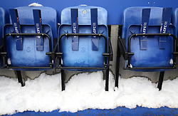 Snow on the terraces before the gamer between Leicester City and AFC Bournemouth