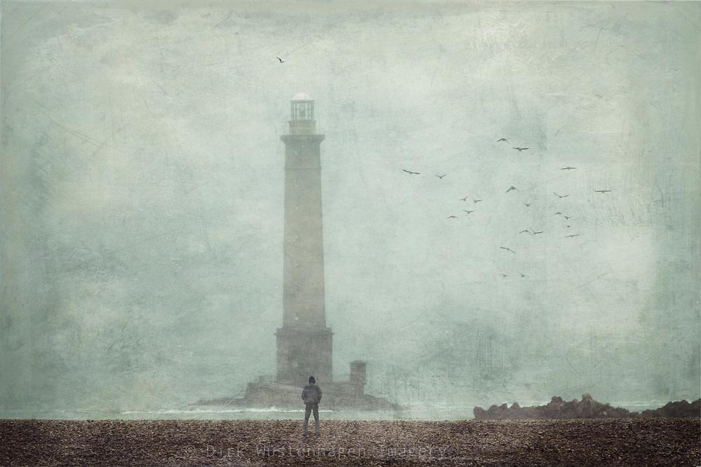 Lighthouse Phare de Cap de la Hague, Normandy, France - this was taken on a mist and rainy Summer day.<br /> Textured photograph