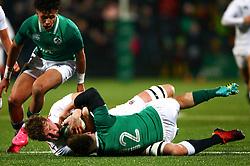 Ted Hill of England U20 is tackled by David Hawkshaw of Ireland U20 - Mandatory by-line: Ken Sutton/JMP - 01/02/2019 - RUGBY - Irish Independent Park - Cork, Cork - Ireland U20 v England U20 -