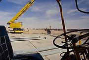 Oil industry in Ras Tanura area, Saudi Arabia, equipment for oil exploration in desert area 1979