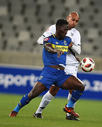 Cape Town-181002- Bidvest Wits  defender Robyn Johannes  challenges  Cape Town City's Siphelele Mthembu  in a PSL clash at the Cape Town stadium.Wits are fighting to get back the top spot after poor display in their last two games .Photographs:Phando Jikelo/African News Agency/ANA