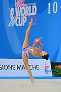 García Natalia Timofeeva during qualifying at ball in Pesaro World Cup 10 April 2015. Natalia is a Spanish rhythmic gymnastics athlete born in Barcelona Spain on  August 5, 1994.