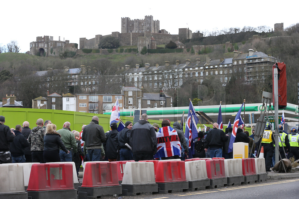 © Licensed to London News Pictures . 30/01/2016 . Dover , UK . Demonstrations by far-right groups (including The National Front , The North West Infidels and The South East Alliance ) and , opposing them , anti-fascists , close to the port of Dover in Kent . Photo credit : Joel Goodman/LNP