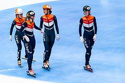 Suzanne Schulting, Rianne de Vries, Yara van Kerkhof and Lara van Ruijven in action on the 3000 meter relay during ISU World Cup Finals Shorttrack 2020 on February 14, 2020 in Optisport Sportboulevard Dordrecht.