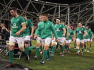 Ireland players walk off the pitch before the start of the game during the 2016 Guinness Series  autumn international rugby match, Ireland v Canada at the Aviva Stadium in Dublin, Ireland on Saturday 12th November 2016.<br /> pic by  John Halas, Andrew Orchard sports photography.