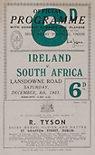 Rugby 1951-08/12 Tour Match Ireland Vs South Africa