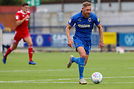 AFC Wimbledon midfielder Scott Wagstaff (7) launching a counter attack during the EFL Sky Bet League 1 match between AFC Wimbledon and Accrington Stanley at the Cherry Red Records Stadium, Kingston, England on 17 August 2019.