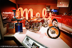 Arlen Ness' custom Harley-Davidson Knucklehead known as Untouchable and an early front sectioned Ness Sportster on display at the Oakland Museum of California. Photograph ©Michael Lichter 1987