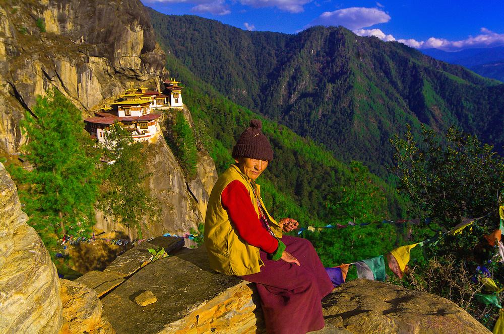 Woman at Taktshang Monastery (Tiger's Nest), Paro Valley, Bhutan