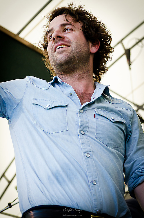 Taylor Goldsmith of Dawes saying thanks and goodbye after their performance at the 2012 Appel Farm Arts & Music Festival.
