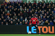 Axel Tuanzebe of Manchester United in action. EFL Carabao Cup 4th round match, Swansea city v Manchester Utd at the Liberty Stadium in Swansea, South Wales on Tuesday 24th October 2017.<br /> pic by  Andrew Orchard, Andrew Orchard sports photography.