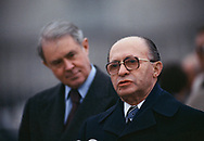 Washington, DC 1979/03/01 Menachem Begin and Secretary of State Cyrus Vance  at Andrews Air Force Base on Begin's arrival in Washington, DC for the signing of the Egypt Israel Peace treaty.<br />Photo by Dennis Brack