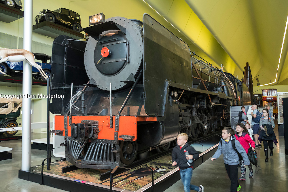 Large steam locomotive on display at the Riverside museum of transport in Glasgow, Scotland, united Kingdom