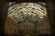 The grand hall in an abandoned asylum