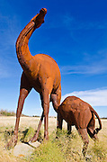 Metal camel sculptures by Ricardo Breceda at Galleta Meadows Estate, Borrego Springs, California USA