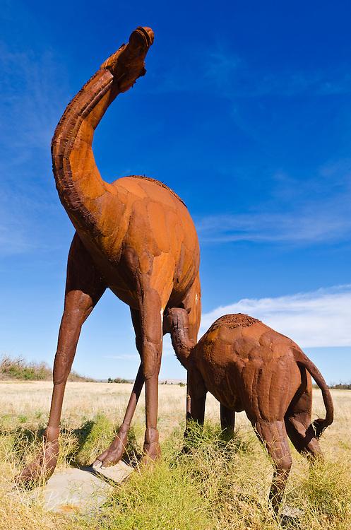 Metal camel sculptures by Ricardo Breceda at Galleta Meadows Estate, Borrego Springs, California USA