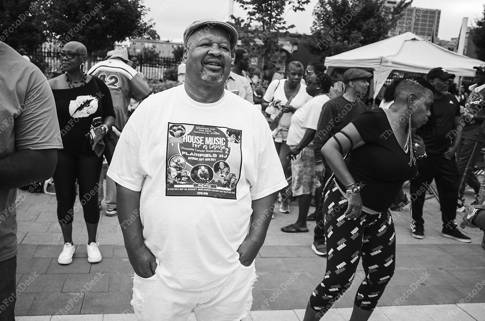 NEWARK, NEW JERSEY: Lenny Cathcart of Plainfield, NJ appears during the Bang The Drum House Music festival at Mulberry Commons in in Newark, NJ on Sunday, August 29, 2021. Cathcart organized a house music festival for Sept 18th at Cedar Brook Park in Plainfield (Brian B Price/TheFotodesk).