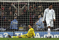 Photo: Paul Thomas/Sportsbeat Images.<br />England v Croatia. UEFA European Championships Qualifying. 21/11/2007.<br /><br />Dejected Scott Carson (Yellow) and Joleon Lescott of England after Croatia score there third goal.