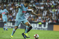 August 20, 2018 - Gaya of Valencia and Correa of Atletico de Madrid in action during the spanish league, La Liga, football match between ValenciaCF and Atletico de Madrid on August 20, 2018 at Mestalla stadium in Valencia, Spain. (Credit Image: © AFP7 via ZUMA Wire)