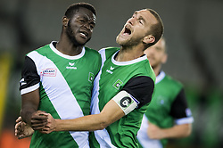 September 2, 2017 - Brugge, BELGIUM - Cercle's Jordy Gaspar and Cercle's Benjamin Lambot celebrate after scoring during a soccer game between Cercle Brugge KSV and Lierse SK in Brugge, Saturday 02 September 2017, on day four of the division 1B Proximus League competition of the Belgian championship. BELGA PHOTO JASPER JACOBS (Credit Image: © Jasper Jacobs/Belga via ZUMA Press)