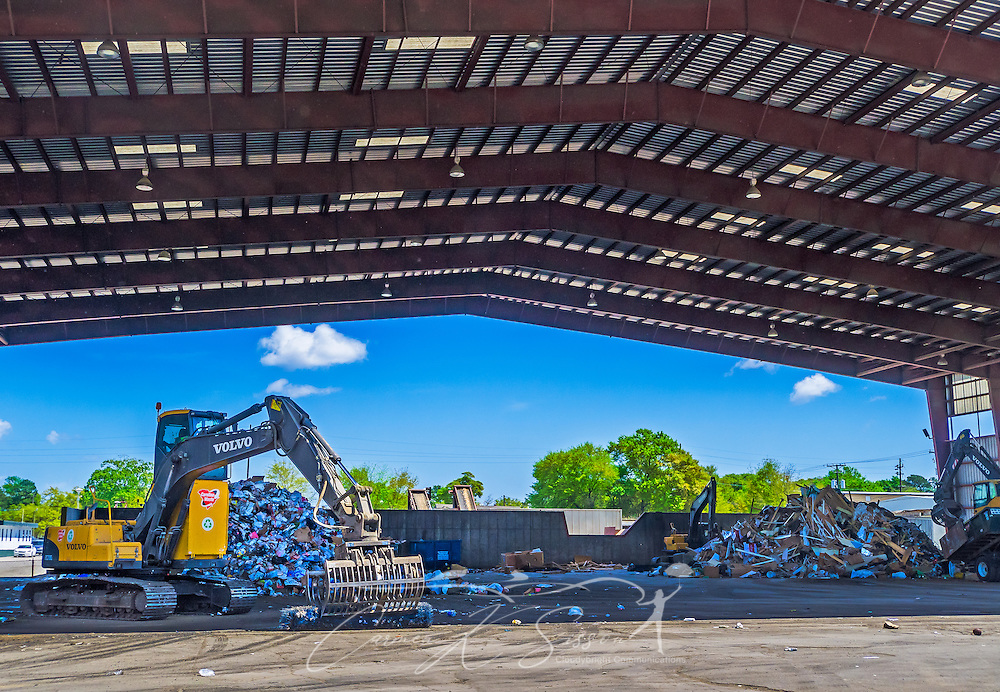Trash and recyclable materials is sorted and processed at Carolina Processing & Recycling, April 6, 2015, in North Charleston, S.C. Approximately 95 percent of the 60-truck fleet is comprised of Macks. The company was founded in 2002 and is the largest independently owned waste hauling company in the state. (Photo by Carmen K. Sisson/Cloudybright)