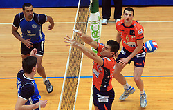 Davor Cebron and Mitja Gasparini of ACH at finals of Slovenian volleyball cup between OK ACH Volley and OK Salonit Anhovo Kanal, on December 27, 2008, in Nova Gorica, Slovenia. ACH Volley won 3:2.(Photo by Vid Ponikvar / SportIda).