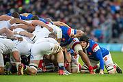 Twickenham, United Kingdom. 7th February, Arthur ITURRIA, packs down., England vs France, 2019 Guinness Six Nations Rugby Match   played at  the  RFU Stadium, Twickenham, England, <br /> © PeterSPURRIER: Intersport Images