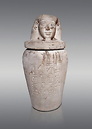 Ancient Egyptian Imesty or Amset Canopic Jar,  New Kingdom,  Egyptian Museum, Turin. Grey background.<br /> <br /> The canopic jars were four in number, each for the safekeeping of particular human organs: the stomach, intestines, lungs, and liver, all of which, it was believed, would be needed in the afterlife. Imsety, the human-headed god representing the South, whose jar contained the liver and was protected by the goddess Isis. .<br /> <br /> If you prefer to buy from our ALAMY PHOTO LIBRARY  Collection visit : https://www.alamy.com/portfolio/paul-williams-funkystock/ancient-egyptian-art-artefacts.html  . Type -   Turin   - into the LOWER SEARCH WITHIN GALLERY box. Refine search by adding background colour, subject etc<br /> <br /> Visit our ANCIENT WORLD PHOTO COLLECTIONS for more photos to download or buy as wall art prints https://funkystock.photoshelter.com/gallery-collection/Ancient-World-Art-Antiquities-Historic-Sites-Pictures-Images-of/C00006u26yqSkDOM