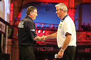 Gary Anderson wins against Steve Beaton during the First Round of the BetVictor World Matchplay Darts at the Empress Ballroom, Blackpool, United Kingdom on 19 July 2015. Photo by Shane Healey.