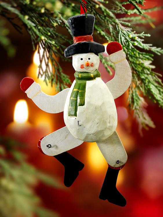 Traditional Christmas tree snowman decoration