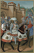 Louis XII (1462-1515) king of France from 1498, riding out with his army to chastise the city of Genoa, 24 April 1507. Covering of king's armour and horse's caparison are decorated with hives and bees. Chromolithograph after miniature by Jean Marot. Colou