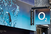 The O2 sign, outside a store in London.