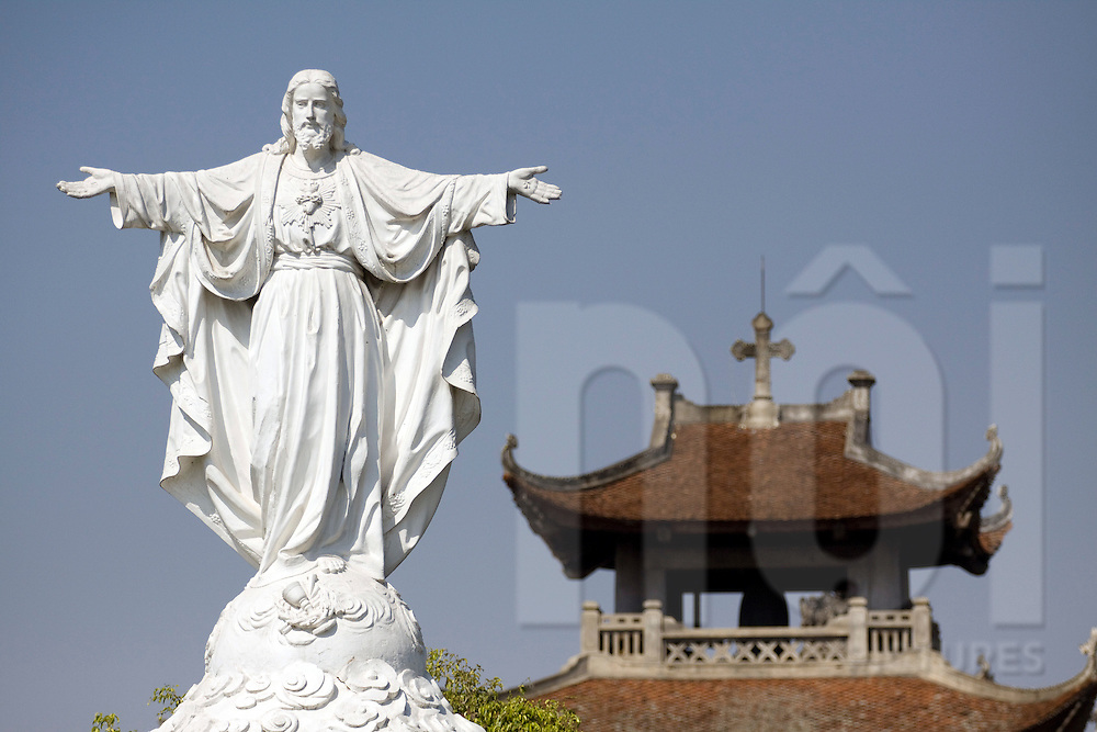 Statue of the Christ in Phat Diem Cathedral, Ninh Binh Province, Vietnam, Southeast Asia