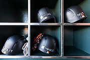 San Francisco Giants left fielder Gorkys Hernandez (66) helmet sits in the dugout before the San Francisco Giants host the Pittsburgh Pirates at AT&T Park in San Francisco, California, on July 25, 2017. (Stan Olszewski/Special to S.F. Examiner)