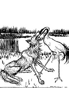 The Wolf and the Crane from the book ' Aesop's fables ' Published in 1912 in London by Heinemann and in  New York by Page Doubleday Illustrated by Arthur Rackham,