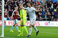 Swansea's Fernando Llorente celebrates after scoring his teams 1st goal. Premier league match, Swansea city v Burnley at the Liberty Stadium in Swansea, South Wales on Saturday 4th March 2017.<br /> pic by  Carl Robertson, Andrew Orchard sports photography.