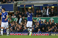 Romelu Lukaku of Everton (c) celebrates after he scores his teams 1st goal. Premier league match, Everton v Crystal Palace at Goodison Park in Liverpool, Merseyside on Friday 30th September 2016.<br /> pic by Chris Stading, Andrew Orchard sports photography.