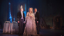 "© Licensed to London News Pictures. 04/02/2013. London, England. Taylor Jay-Davies as Young Pip, Paula Wilcox as Miss Havisham and Paul Nivison as Adult Pip. A new stage adaptation of Charles Dickens's ""Great Expecations"" will open at the Vaudeville Theatre, London, on Wednesday, 6 February 2013. It is the first ever full-scale stage play of Great Expectations in either the West End or on Broadway. Adaptation by Jo Clifford, directed by Graham McLaren. Photo credit: Bettina Strenske/LNP"