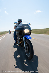 Joe Mielke on the Cycle Source Ride during the 78th annual Sturgis Motorcycle Rally. Sturgis, SD. USA. Wednesday August 8, 2018. Photography ©2018 Michael Lichter.