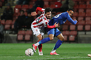 Chris Clements and Corey Whitely during the The FA Cup 1st round replay match between Cheltenham Town and Ebbsfleet at LCI Rail Stadium, Cheltenham, England on 20 November 2018.