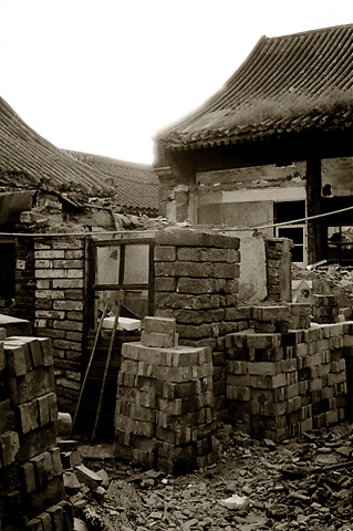 Beijing hutong houses being demolished.
